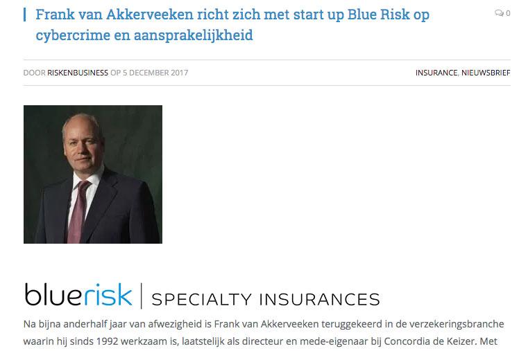 persbericht van riskenbusiness over frank van akkerveeken